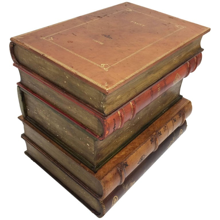 Sarreid Italian Leather Stacked Book Form End Table, circa 1960s