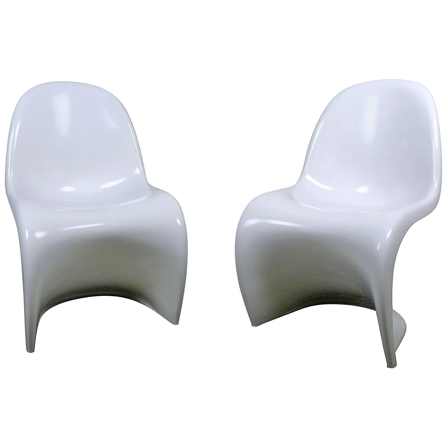 Pair Of White Panton Chairs By Verner Panton For Fehlbau From 1971 And 1972