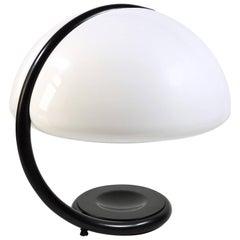 Elio Martinelli Serpente Black and White Italian Table Lamp, 1965
