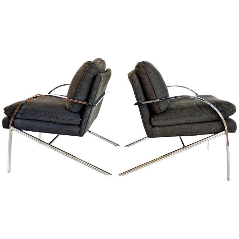 Pair of Chromed Steel Chairs after Milo Baughman, circa 1960s-1970s