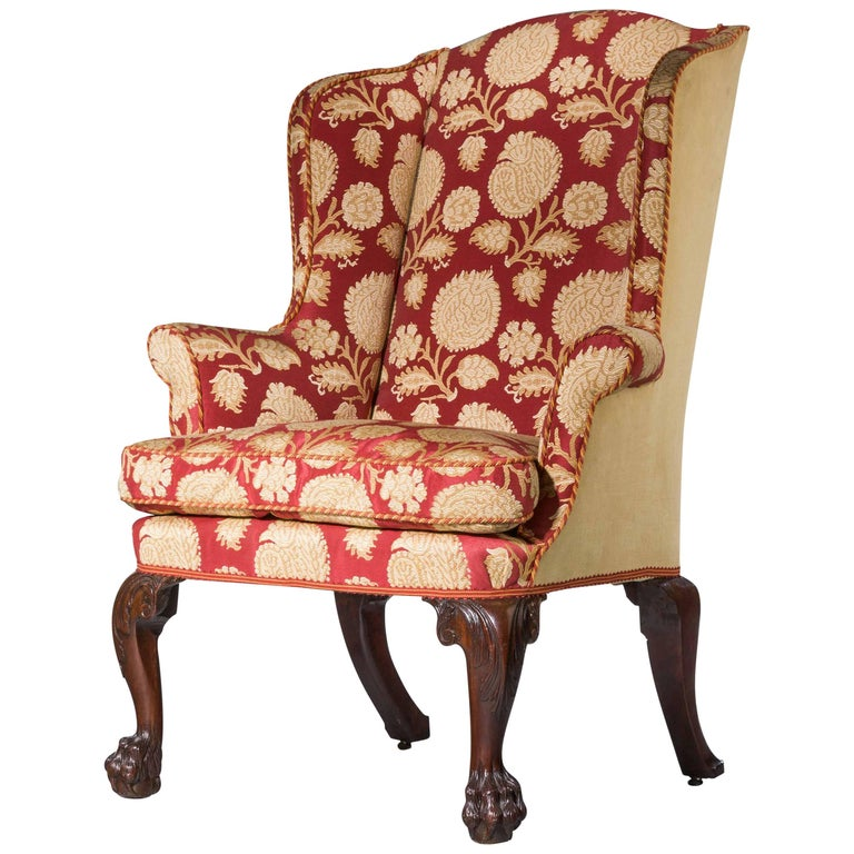 George II Period Walnut Wing Chair For Sale