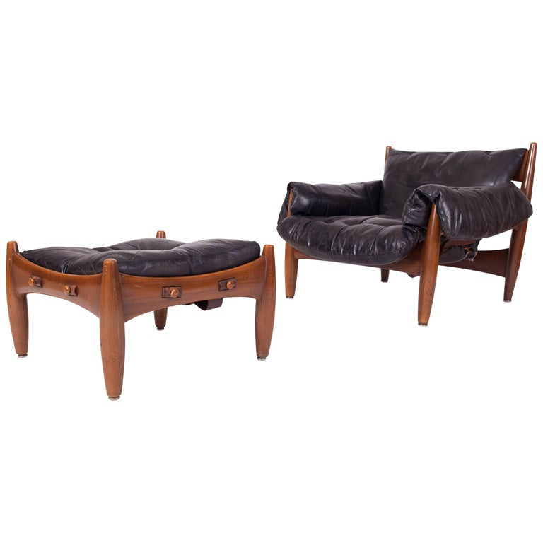 """Sergio Rodrigues """"Sherrif"""" Lounge Chair and Ottoman"""