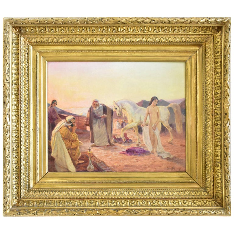 """Oil Painting titled """"The Slave Merchant"""" by Ottto Pilny, Signed"""