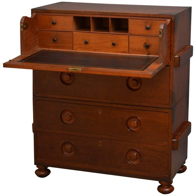Early 19th Century Military Chest with Secretaire For Sale