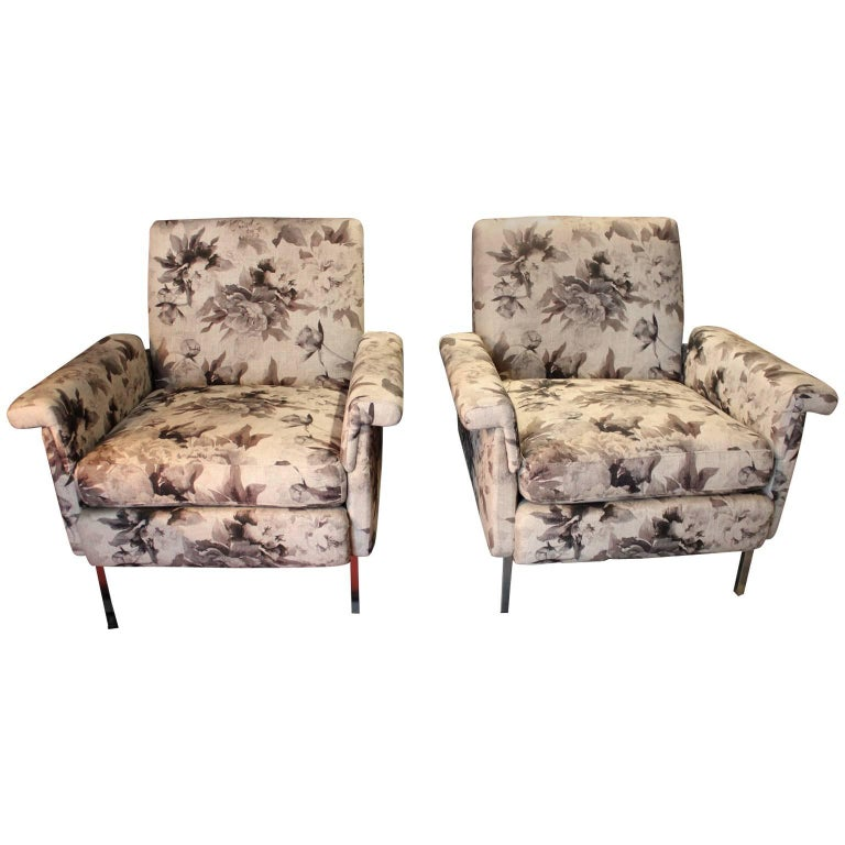 1970 Pair of Armchairs Covered in Floral Print Linen, Metal Base