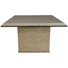 Travertine and Brass Coffee Table Hollywood Regency Style