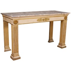 French Console Table in Lacquered and Giltwood in Empire Style, 20th Century