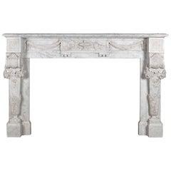 Antique French Carrara Marble Mantelpiece