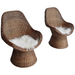 Pair of Dutch Twined Willow Basket Chairs with Woolen Seats, 1960s