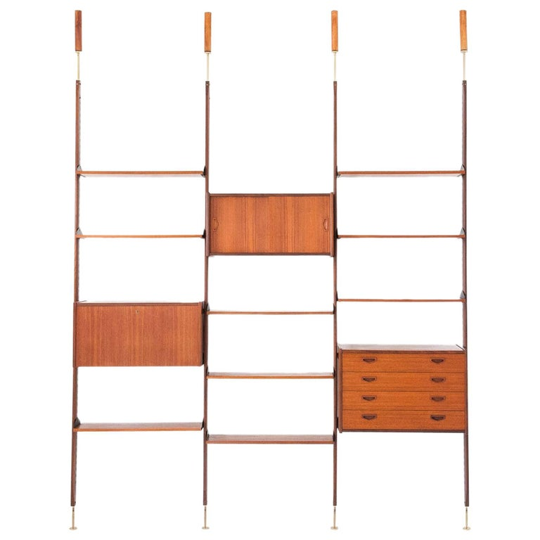 Italian Modern Teak Brass Floor to Ceiling Wall Unit Bookshelf Library, 1950s