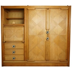 "Wardrobe-Secretary ""Gemini"" Model Oak and Ceramic Design Guillerme & Chambron"