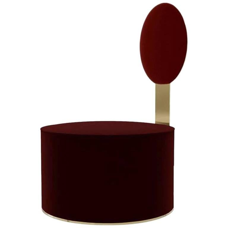 Pop Chair in Satin Brass Finish and Red Burgundy Velvet by Artefatto Bespoke For Sale