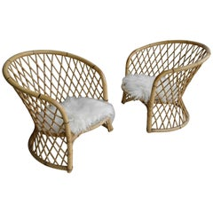 Pair of Bamboo Armchairs with Woollen Seats, 1960s