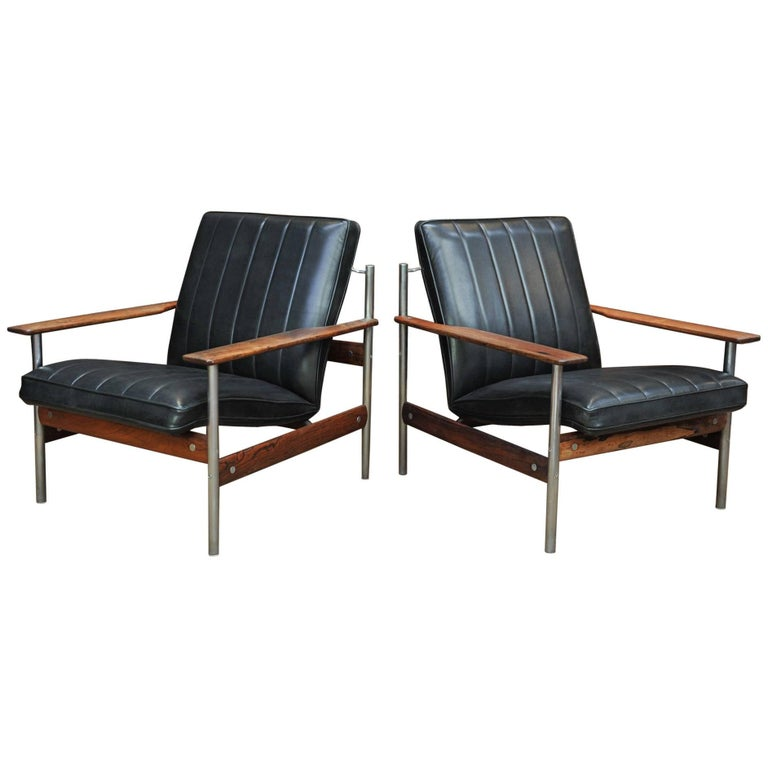 Pair of Rosewood and Leather Lounge Chairs by Sven Ivar, circa 1960
