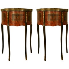 19th Century Pair of Fine French Demilune Mahogany Side Tables