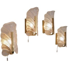 Brass Wall Lights Set of Four Carl Fagerlund Orrefors, 1960s, Swedish