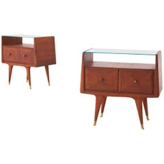 Italian Mid-Century Modern Brass and Mahogany Bedside Tables Nightstands, 1950s