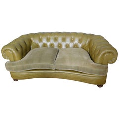 Vintage English Chesterfield Settee in Olive Green Leather with Velvet Cushions