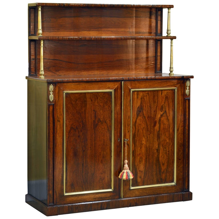 Distinguished 19th Century English Regency Two-Tier Rosewood Chiffonier
