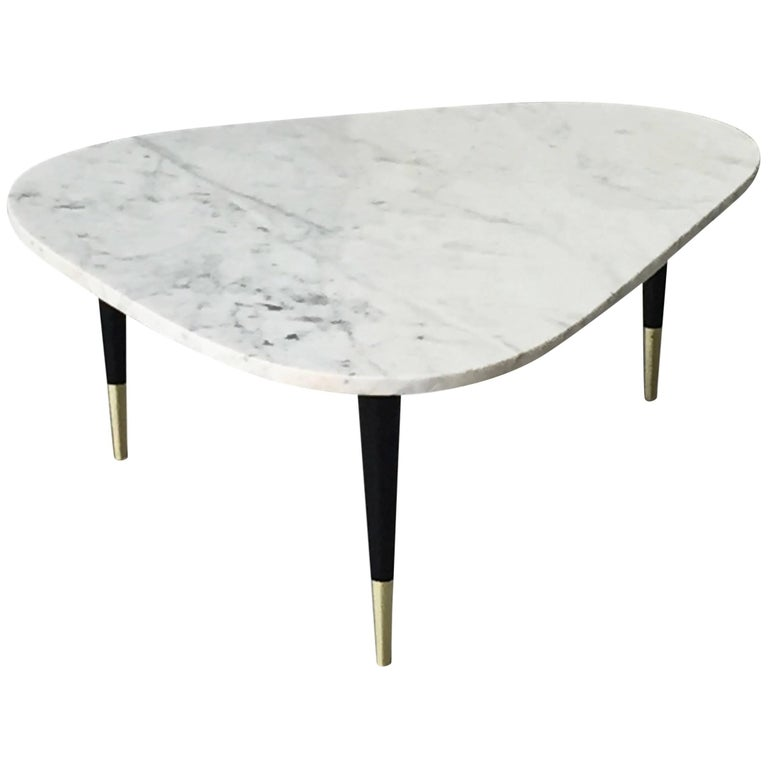 Italian Marble-Top Coffee Table with Brass Caps After Gio Ponti, Midcentury