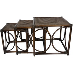 Rattan and Cane Tray Nesting Tables