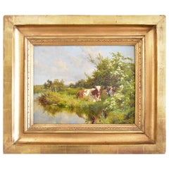 """Oil on Canvas Painting by Charles Collins """"Cattle by a Stream"""" 1897 Signed Dated"""