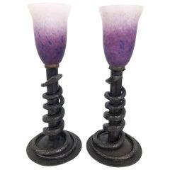 "Pair of Table Lamps by ""Le Verre Francais""/""Schneider"", Art Deco, France, 1930s"