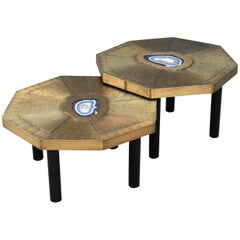 Two Octagonal Coffee Tables, Patinated Acid Etched Brass and Agate Slices