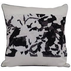 Handcrafted Embroidered Pillow Black White and Grey Abstract Floral