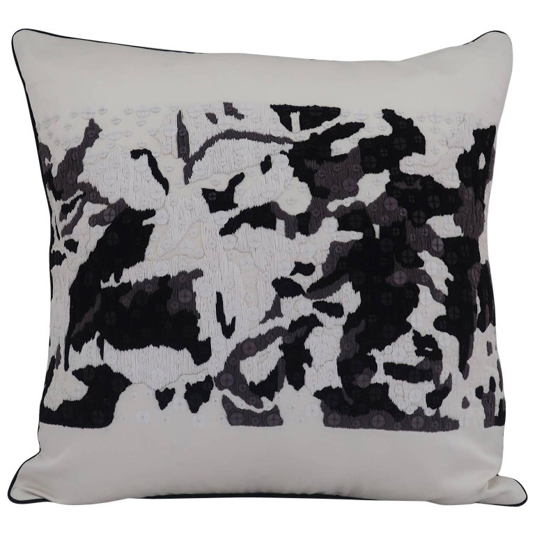 Handcrafted Embroidered Pillow Black White and Grey Abstract Floral For Sale