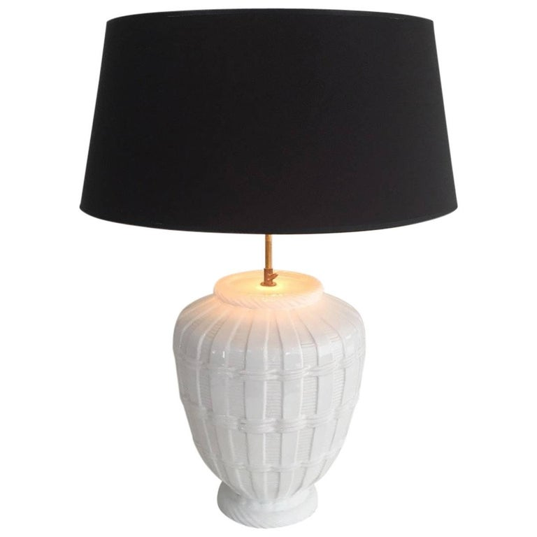 Mid-Century Modern White Glazed Ceramic Lamp