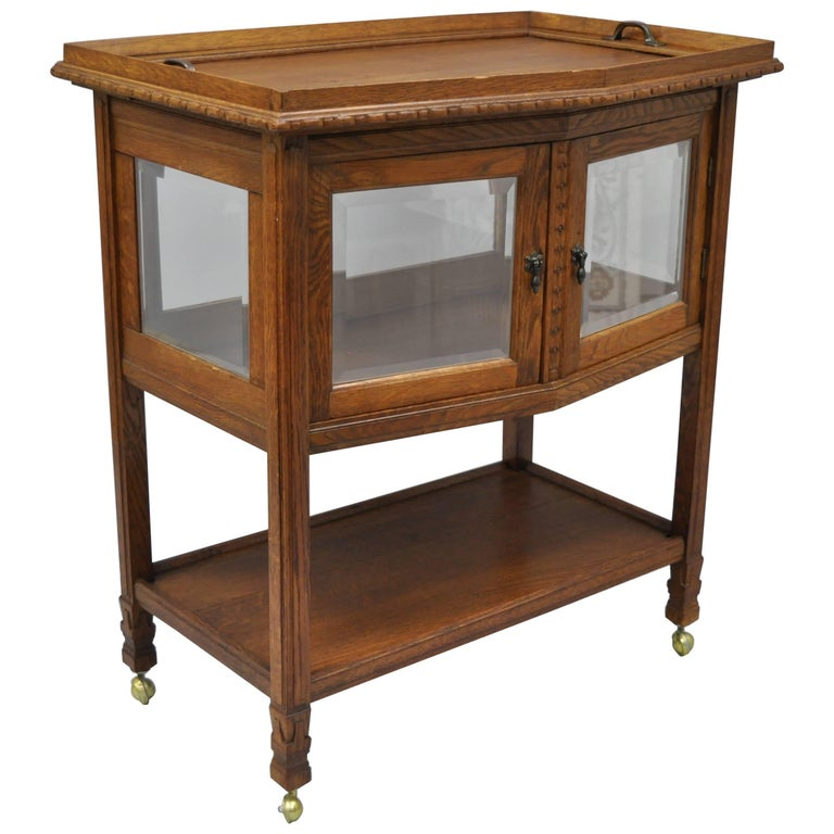 Antique French Carved Oak Wood Server Bar Cart Glass Display Cabinet Tray Table