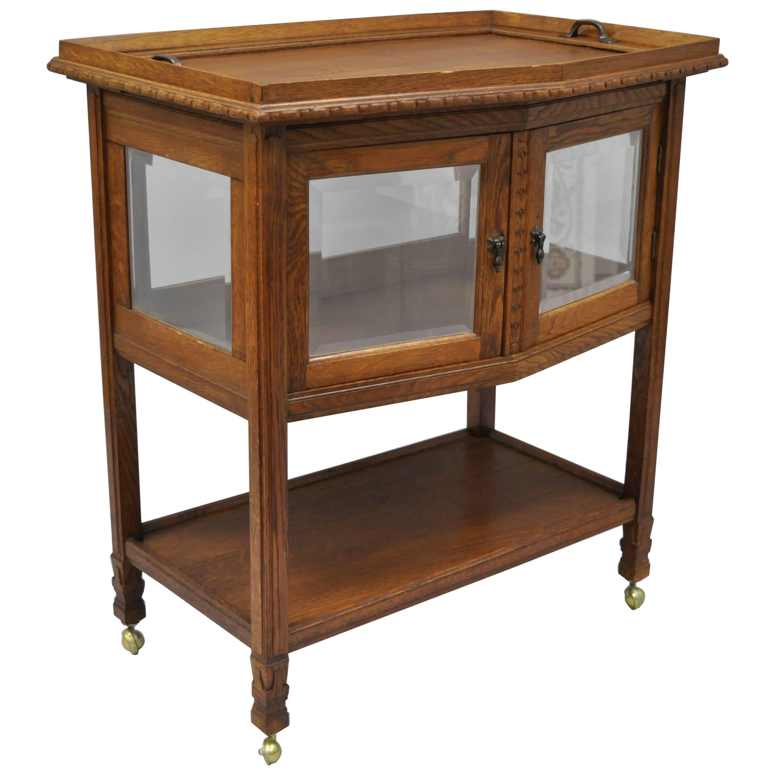 Superbe Antique French Carved Oak Wood Server Bar Cart Glass Display Cabinet Tray  Table For Sale