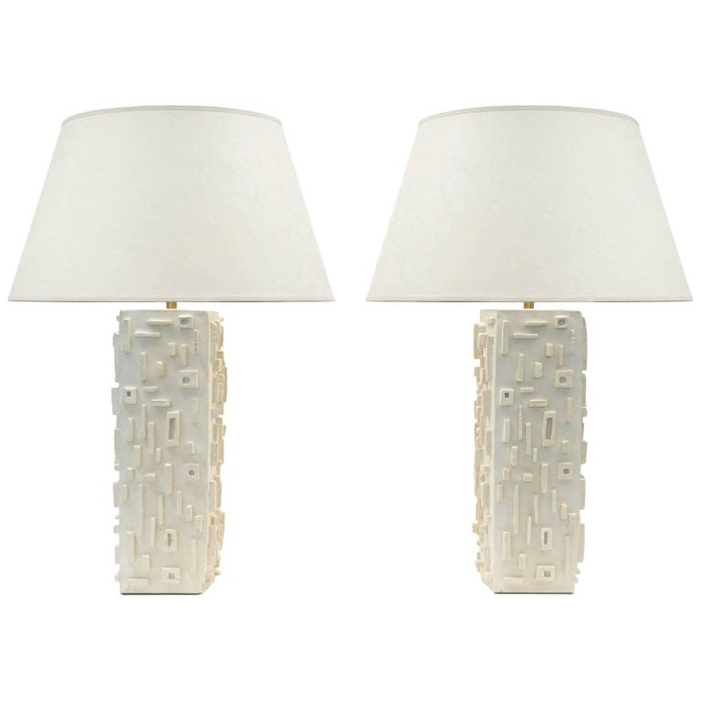 Pair of Modern Plaster Table Lamps with a Carved Geometric Pattern, France