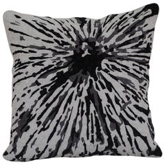 Handcrafted Embroidered Pillow Black White and Grey Floral