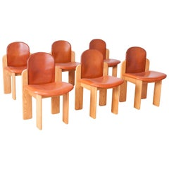Silvio Coppola Dining Chairs in Ash and Cognac Leather