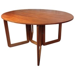 1960s Danish Extendable Dropdown Retro Teak Table on U Legs