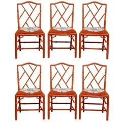 Set of Six Faux Bamboo Chinese Chippendale Lacquered Chairs
