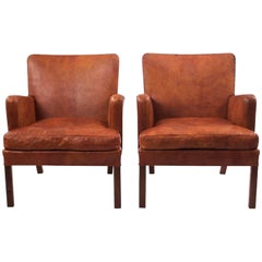 Pair of Kaare Klint Easy Chairs in Niger Leather