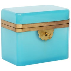 Opaline Glass Box with Key