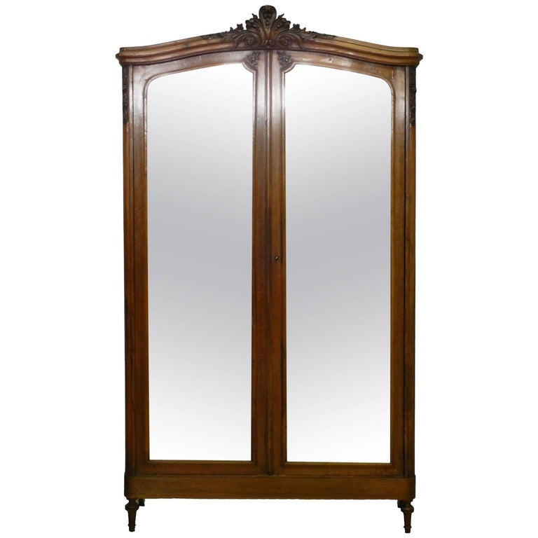 French Armoire Late 19th Century Louis Mirror Door Wardrobe Free Ship Option