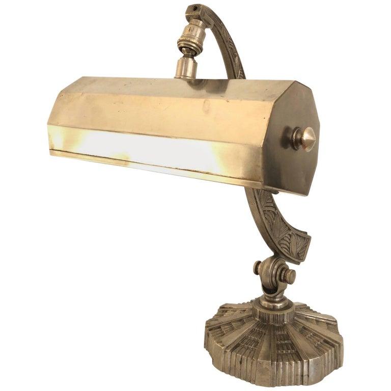 Heavy Desk Lamp in Bronze, Art Deco, France, 1930s