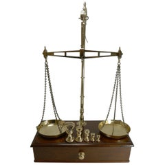 Large Boxed Antique English Commodity Scales in Mahogany and Brass, circa 1880