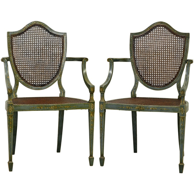 Pair of Early 20th Century English Adams Style Painted Shield Back Armchairs