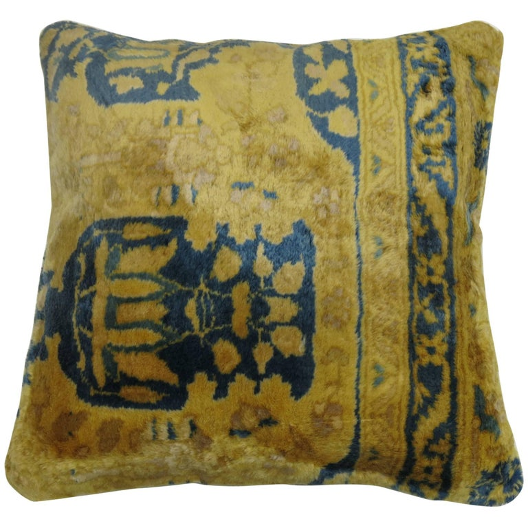 Vintage Indian Agra Rug Pillow For Sale