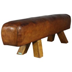 1950s Leather Gym Pommel Horse Bench