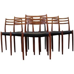 Set of Six Dining Chairs in Rosewood by Niels O. Møller, Denmark, 1960s