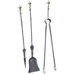 English Art Nouveau Fireplace Tools or Fire Tools
