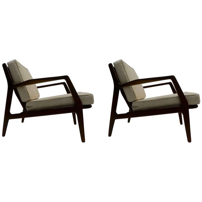 1950 Ib Kofod-Larsen Danish Pair of Lounge Chairs in Dark Finish