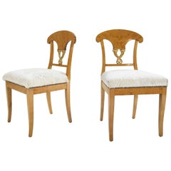 Pair of Satin Birch Biedermeier Chairs in Ivory Brazilian Cowhide, circa 1820